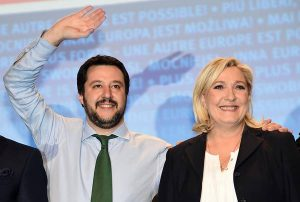 Marine Le Pen with Italian Northern League chief Matteo Salvini in Milan, 28 January 2016. The leader of France's far-right Front National (FN) was on hand in Milan Thursday for a convention of Italy's rightwing, anti-immigrant Northern League (LN). ANSA/ DANIEL DAL ZENNARO